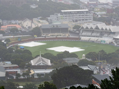 """Rain continues to fall on the Basin Reserve during day two of the 2nd Test cricket match between New Zealand and Bangladesh in Wellington on March 9, 2019. (Photo by Marty MELVILLE / AFP) / """"The erroneous mention[s] appearing in the metadata of this photo by Marty MELVILLE has been modified in AFP systems in the following manner: [correcting year to 2019] instead of [2018]. Please immediately remove the erroneous mention[s] from all your online services and delete it (them) from your servers. If you have been authorized by AFP to distribute it (them) to third parties, please ensure that the same actions are carried out by them. Failure to promptly comply with these instructions will entail liability on your part for any continued or post notification usage. Therefore we thank you very much for all your attention and prompt action. We are sorry for the inconvenience this notification may cause and remain at your disposal for any further information you may require."""""""