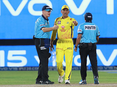 CSK captain MS Dhoni walks to the middle to confront umpires over a no-ball call during tie against Rajasthan Royals. Sportzpics