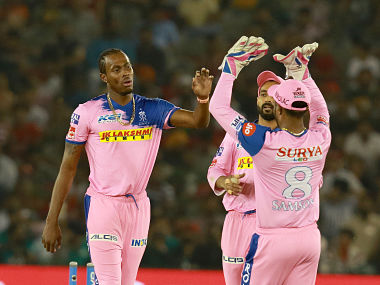 Jofra Archer of Rajathan Royals celebrates after taking a wicket of Mandeep Singh. Sportzpics