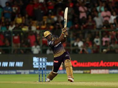 Andre Russell of Kolkata Knight Riders hits a six during their match against Royal Challengers Bangalore. Sportzpics