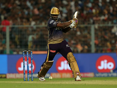 Andre Russell of Kolkata Kinght Riders in action against Delhi Capitals. Sportzpics