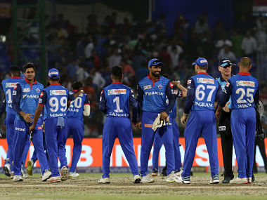 Delhi Capitals players celebrates after winning the match 46 of the Vivo Indian Premier League Season 12, 2019 between the Delhi Capitals and the Royal Challengers Bangalore held at the Feroz Shah Kotla Ground, Delhi on the 28th April 2019 Photo by: Faheem Hussain /SPORTZPICS for BCCI