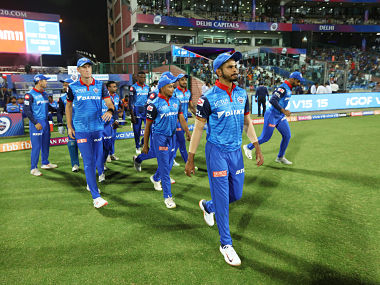 Delhi Capitals players entering the fop during match 10 of the Vivo Indian Premier League Season 12, 2019 between the Delhi Capitals and the Kolkata Knight Riders held at the Feroz Shah Kotla Ground, Delhi on the 30th March 2019 Photo by Saikat Das /SPORTZPICS for BCCI