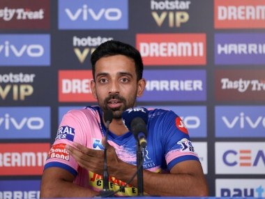 Dhawal Kulkarni of Rajasthan Royals speaks at a press conference after the match 27 of the Vivo Indian Premier League Season 12, 2019 between the Mumbai Indians and the Rajasthan Royals held at the Wankhede Stadium in Mumbai on the 13th April 2019 Photo by: Faheem Hussain /SPORTZPICS for BCCI