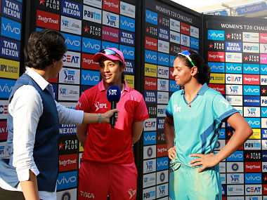 Harmanpreet Kaur of IPL Supernovas and Smriti Mandhana of IPL Trailblazers greet each other after the Women's IPL T20 Challenge match between the IPL Trailblazers and the IPL Supernovas held at the Wankhede Stadium in Mumbai on the 22nd May 2018. Photo by: Faheem Hussain /SPORTZPICS for BCCI
