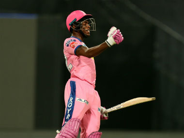 Jofra Archer celebrates after hitting the winning six for Rajasthan Royals. Sportzpics