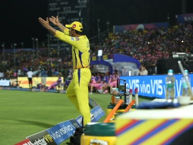 MS Dhoni (c) of Chennai Super Kings play a shot during match 25 of the Vivo Indian Premier League Season 12, 2019 between the Rajasthan Royals and the Chennai Super Kings held at the Sawai Mansingh Stadium in Jaipur on the 11th April 2019 Photo by: Arjun Singh /SPORTZPICS for BCCI
