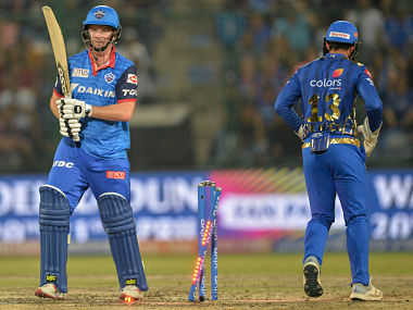 Delhi Capitals cricketer Colin Munro is bowled during the 2019 Indian Premier League (IPL) Twenty20 cricket match between Delhi Capitals and Mumbai Indians at the Feroz Shah Kotla cricket stadium in New Delhi on April 18, 2019. (Photo by Sajjad HUSSAIN / AFP) / ----IMAGE RESTRICTED TO EDITORIAL USE - STRICTLY NO COMMERCIAL USE-----