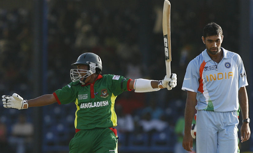 Mushfiqur Rahim celebrates after helping Bangladesh pull off a five-wicket win over India in the group stage encounter of the 2007 World Cup. AFP