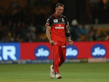 Dale Steyn of Royal Challengers Bangalore celebrates the wicket of Shane Watson of Chennai Super Kings during match 39 of the Vivo Indian Premier League Season 12, 2019 between the Royal Challengers Bangalore and the Chennai Super Kings held at the M Chinnaswamy Stadium in Bengaluru on the 21st April 2019 Photo by: Ron Gaunt /SPORTZPICS for BCCI