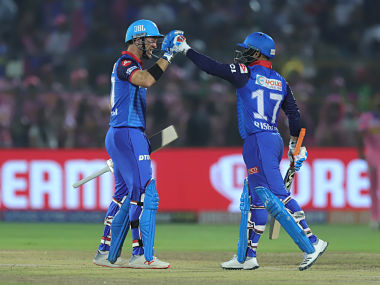 Rishabh Pant and Colin Ingram of Delhi Capitals celebrates win during match 40 of the Vivo Indian Premier League Season 12, 2019 between the Rajasthan Royals and the Delhi Capitals held at the Sawai Mansingh Stadium in Jaipur on the 22nd April 2019 Photo by: Deepak Malik /SPORTZPICS for BCCI