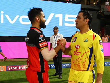 Virat Kohli of Royal Challengers Bangalore and MS Dhoni of Chennai Super Kings congratulating each other after the match. Sportzpics