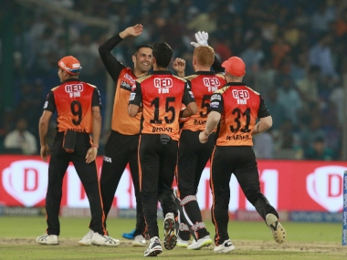 Mohammad Nabi of SRH celebrates after takes a wicket of Rishabh Pant of DC during match 16 of the Vivo Indian Premier League Season 12, 2019 between the Delhi Capitals and the Sunrisers Hyderabad held at the Feroz Shah Kotla Ground, Delhi on the 4th April 2019 Photo by: Rahul Gulati /SPORTZPICS for BCCI