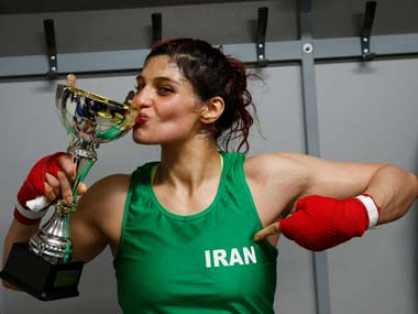 Iranian boxer Sadaf Khadem facing imprisonment in home country after violating dress rules by fighting bareheaded in France