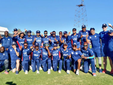 The victorious USA team pose after their win over Hong Kong. Image credit: Twitter/@usacricket