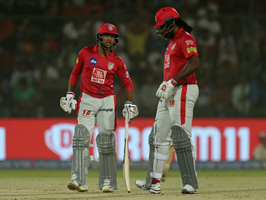 Mayank Agarwal and Chris Gayle of Kings XI Punjab during match 37 of the Vivo Indian Premier League Season 12, 2019 between the Delhi Capitals and the Kings XI Punjab held at the Feroz Shah Kotla Ground, Delhi on the 20th April 2019 Photo by: Prashant Bhoot /SPORTZPICS for BCCI