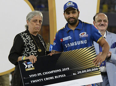 Diana Edulji wanted to present the IPL winners' trophy to the champion team but was overruled. AFP