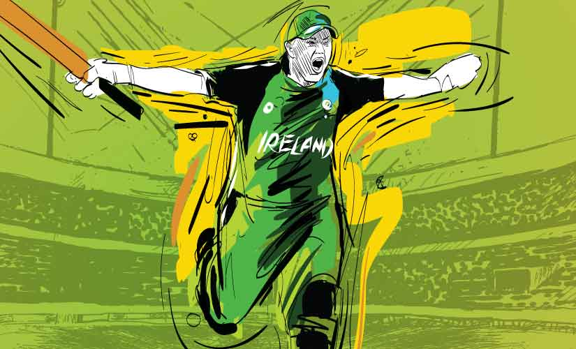 Kevin O'Brien celebrates after scoring the fastest century in World Cup, against England in 2011 World Cup. Artwork by Rajan Gaikwad