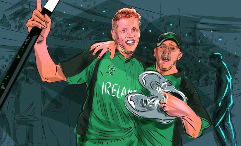 Kevin O'Brien celebrates the victory over England with brother Niall O'Brien in 2011 World Cup. Artwork by Rajan Gaikwad