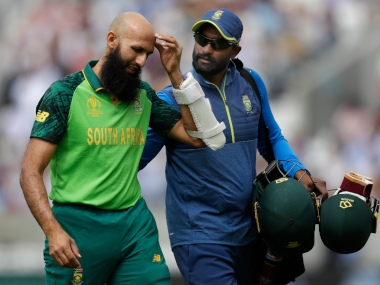 Hashim Amla left the field after being hit by a bouncer from Jofra Archer. AP