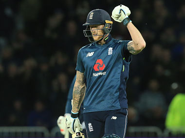 England's Ben Stokes celebrates as England beat Pakistan by three wickets during the fourth One Day International (ODI) cricket match between England and Pakistan at Trent Bridge in Nottingham on May 17, 2019. - Victory gave World Cup hosts and favourites England an unbeatable 3-0 lead in the five-match series. (Photo by Lindsey PARNABY / AFP) / RESTRICTED TO EDITORIAL USE. NO ASSOCIATION WITH DIRECT COMPETITOR OF SPONSOR, PARTNER, OR SUPPLIER OF THE ECB