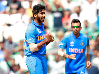 Jasprit Bumrah celebrates after dismissing New Zealand's Colin Munro in a warm-up match. Reuters
