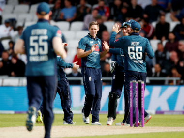 Chris Woakes demolished the Pakistan top order, collecting three wickets in nine balls without conceding a run. Reuters