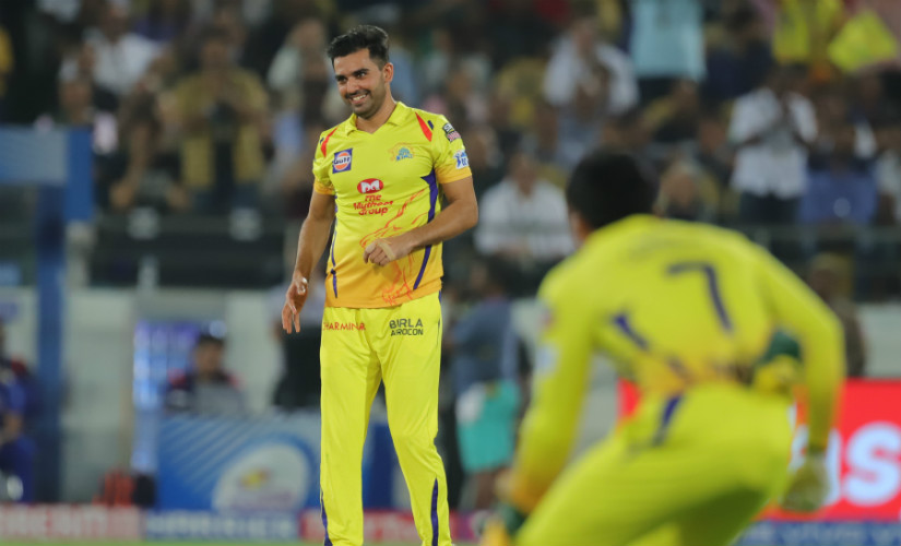 Deepak Chahar smiles after getting his cousin Rahul dismissed in the IPL 2019 final. Sportzpics