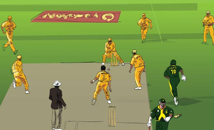 That heartbreaking run out in the greatest ODI ever played. Artwork by Rajan Gaikwad