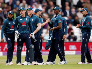 England players celebrate a wicket. Reuters