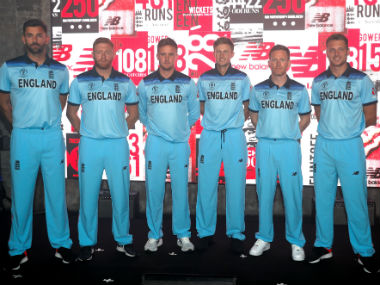 Members of the England World Cup squad, including captain Eoin Morgan, at the launch of the team's new kit for the event. Reuters