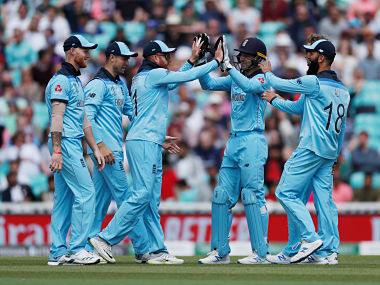 England's Jonny Bairstow and team mates celebrate the run out of Afghanistan's Najibullah Zadran. Reuters