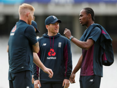 England captain Eoin Morgan with Jofra Archer and Ben Stokes at a practice session ahead of the tournament opener against South Africa. Reuters