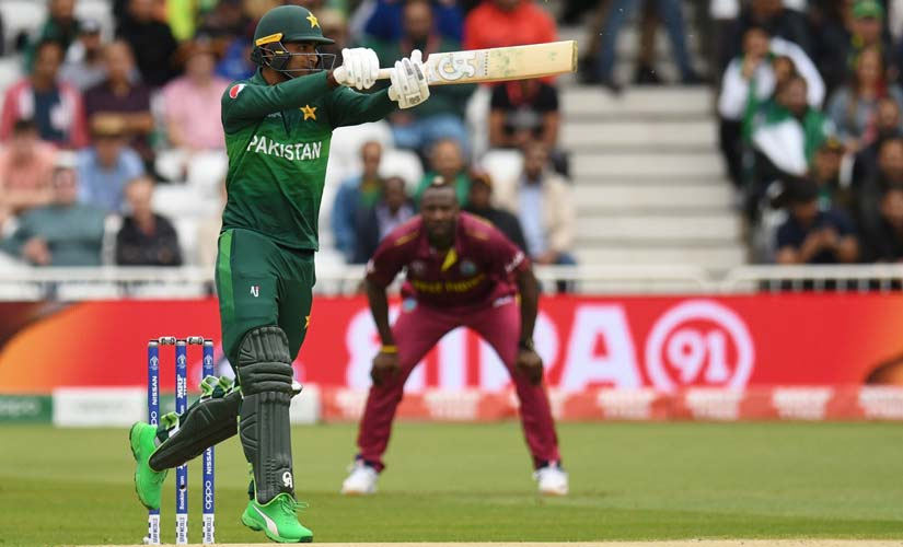 Pakistan's Fakhar Zaman plays a shot during the 2019 Cricket World Cup group stage match between West Indies and Pakistan at Trent Bridge. AFP
