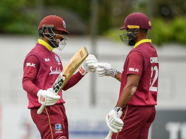 Shai Hope and John Campbell smashed the record for the opening wicket against Ireland. Image courtesy: Twitter @windies