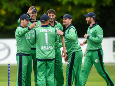 Ireland celebrate the dismissal of an Afghan batsman. Image credit: Twitter/@ACBOfficials