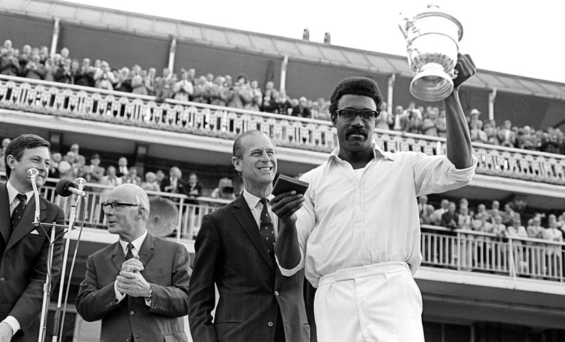 Clive Lloyd holding the World Cup trophy in 1975. Image courtesy: Twitter/ICC