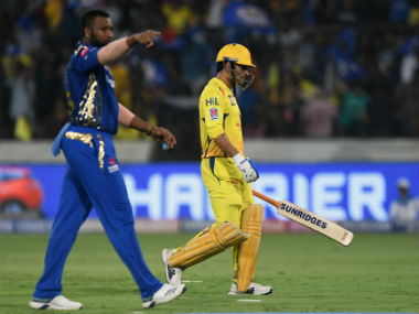 MS Dhoni's run out in the 13th over of the CSK innings turned out to be a game-changing moment. AFP