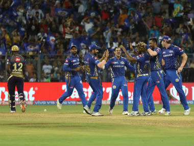 Mumbai Indians players celebrate after dismissing Andre Russell for a golden duck. Sportzpics