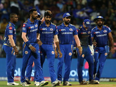 Mumbai Indians players celebrates the wicket of Martin Guptill of Sunrisers Hyderabad during the match against SRH. Sportzpics