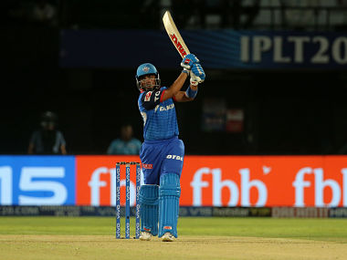 Prithvi Shaw of Delhi Capitals plays a shot during the Eliminator against Sunrisers Hyderabad. Image courtesy: SPORTZPICS for BCCI