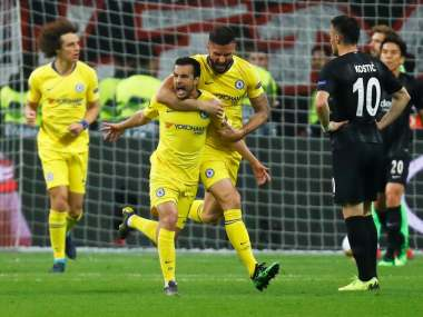 Europa League Pedros away goal gives Chelsea slim advantage in semifinal tie after score draw against Eintracht Frankfurt