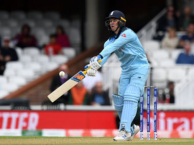England's Jason Roy plays a shot during the 2019 Cricket World Cup warm up match between England and Afghanistan at The Oval in London on May 27, 2019. (Photo by Dibyangshu SARKAR / AFP)