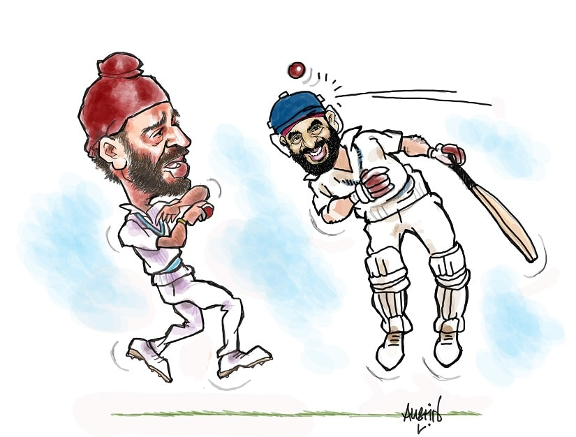 A defining moment in the 1983 Cricket World Cup final was the inswinger from Balvinder Singh Sandhu that got rid of Gordon Greenidge. Illustration courtesy Austin Coutinho