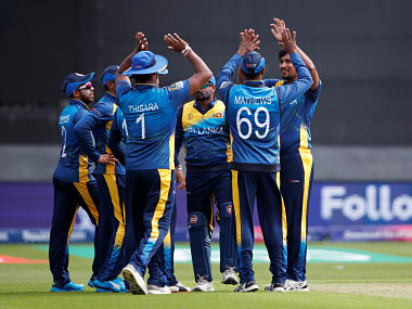 Sri Lanka players celebrate the dismissal of Aiden Markram during the World Cup warm-up match. Reuters
