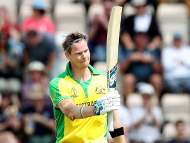 Australia's Steve Smith celebrates after reaching his hundred. Reuters