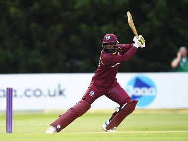 Sunil Ambris' 126-ball-148 helped West Indies to a five-wicket win over Ireland. Image courtesy: Twitter @windiescricket