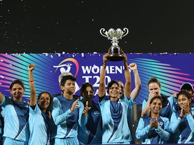 Supernovas players with winning trophy during the final of the Women's T20 Challenge, 2019 between the Supernovas and Velocity held at the Sawai Mansingh Stadium in Jaipur on the 11th May 2019 Photo by: Faheem Hussain /SPORTZPICS for BCCI