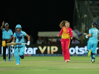 Sophie Ecclestone of Traliblazers celebrates wicket of Sophie Devine of Supernovas during match 1 of the Women's T20 Challenge, 2019 between the Supernovas and the Trailblazers held at the Sawai Mansingh Stadium in Jaipur on the 6th May 2019 Photo by: Prashant Bhoot /SPORTZPICS for BCCI