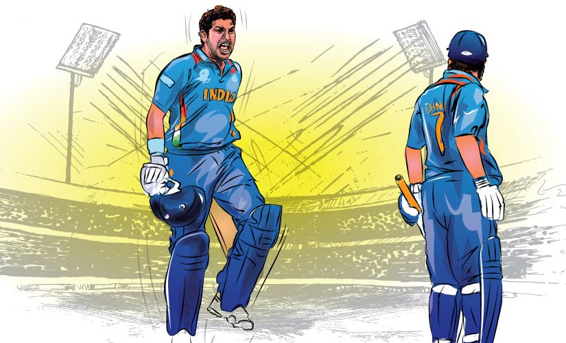 Yuvraj Singh and MS Dhoni (right) celebrate India's World Cup win. Artwork by Rajan Gaikwad